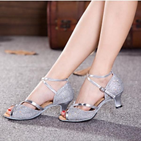 Женщины Мерцающая отделка На каблуках Сандалии На каблуках Латино с Ремешок на щиколотке В дырочку блестками Обувь для танцев