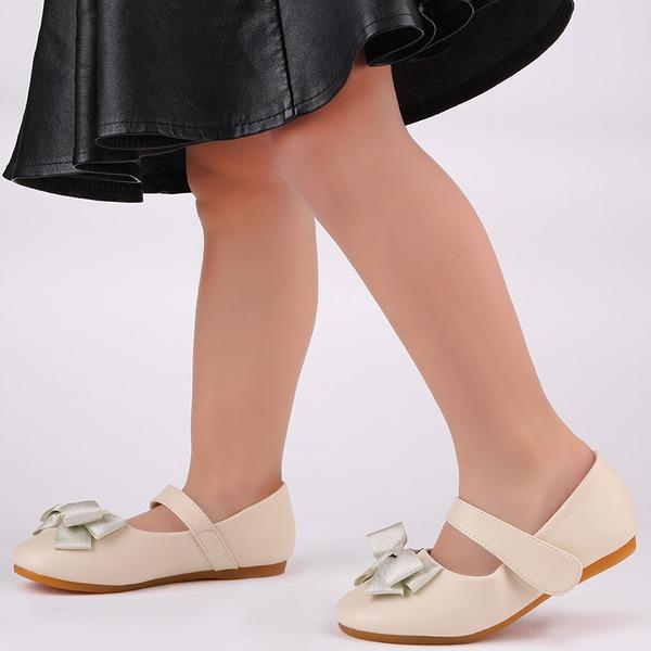 Muchacha Encaje Ballet plano Cuero de Microfibra Talón plano Planos Zapatos de niña de las flores con Bowknot Velcro