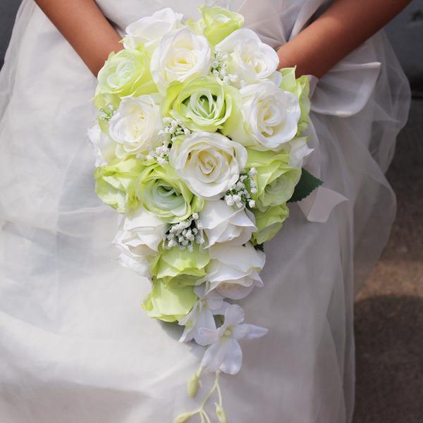 Elegante Cascada Flores de seda Ramos de novia - Ramos de novia