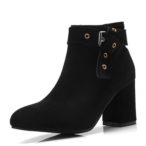 Kvinder Ruskind Stor Hæl Pumps Lukket Tå Støvler Ankelstøvler med Spænde sko