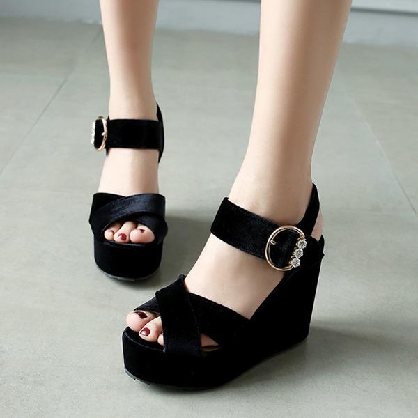 Women's Suede Wedge Heel Sandals With Buckle shoes