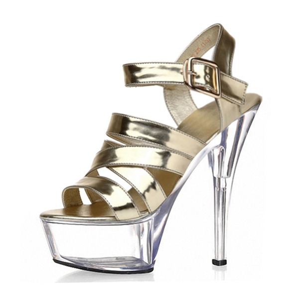 Kvinder PVC Stiletto Hæl sandaler Pumps Platform Kigge Tå Slingbacks med Spænde sko