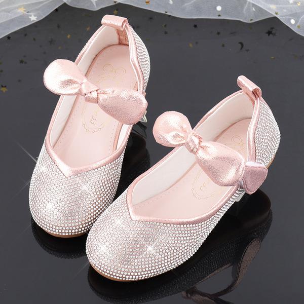 Flicka rund tå sparkling blänker Flower Girl Shoes med Beading Bowknot Kristall