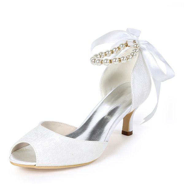Women's Lace Stiletto Heel Peep Toe Pumps With Imitation Pearl Ribbon Tie