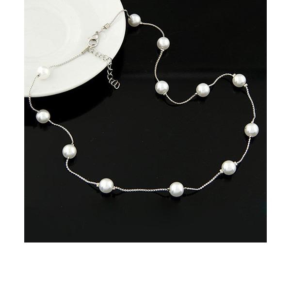 élégant Alliage De faux pearl avec Perle d'imitation Dames Collier de mode (Vendu dans une seule pièce)