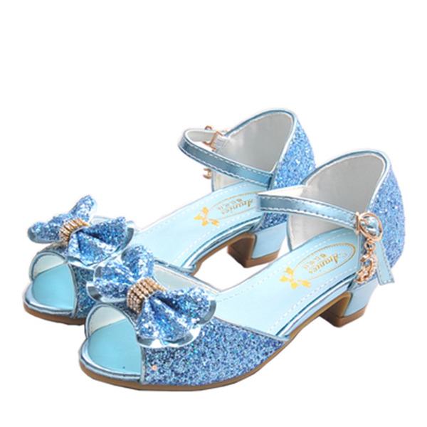девичий Открытый мыс дерматин низкий каблук Сандалии Обувь для девочек с бантом