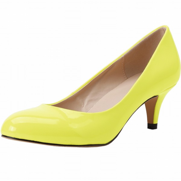 Femmes Cuir verni Talon cône Escarpins Bout fermé chaussures