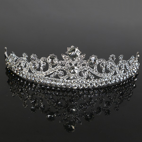 Ladies Pretty Alloy Tiaras With Rhinestone (Sold in single piece)