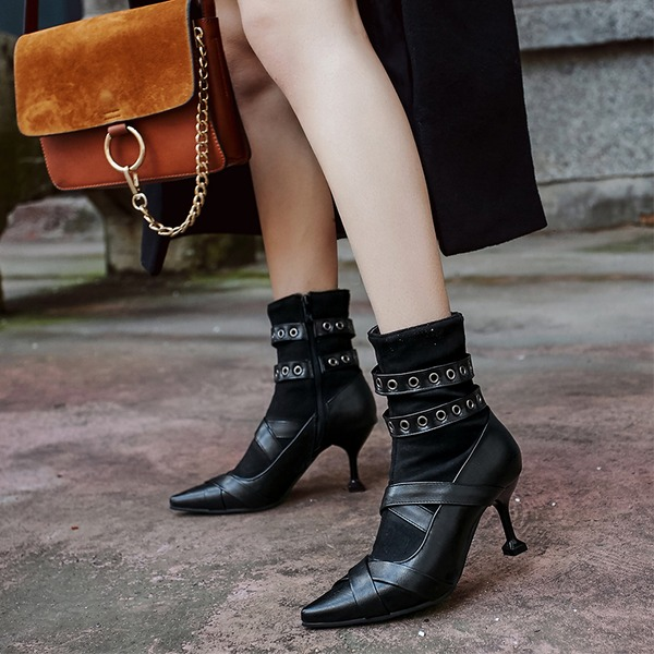 Women's Leatherette Stiletto Heel Pumps Boots Ankle Boots With Rivet Buckle shoes