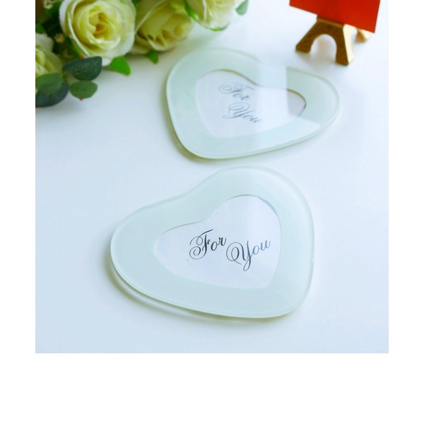 """Tea Time""/Lovely Heart Shaped Glass Tea Party Favors (Set of 2 pieces)"