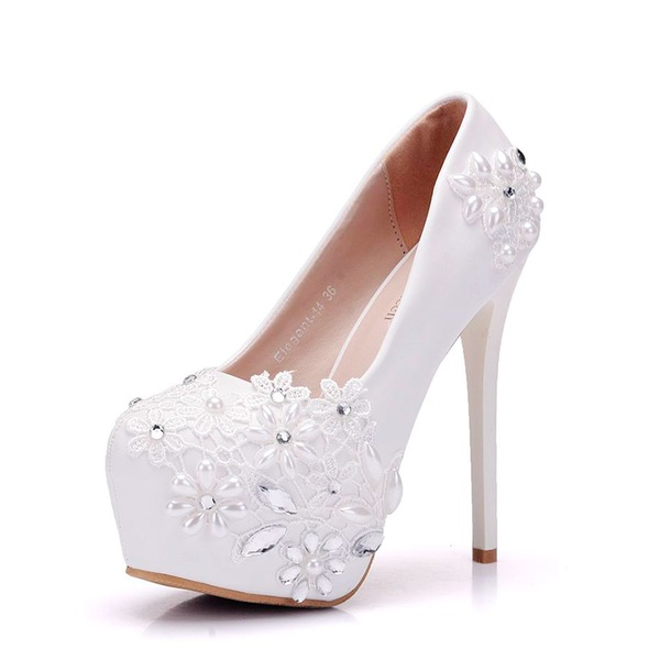 Women's Leatherette Stiletto Heel Closed Toe Platform Pumps With Imitation Pearl Rhinestone Applique