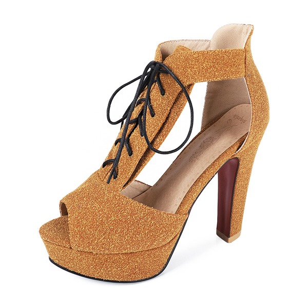 Women's Suede Chunky Heel Pumps Platform Peep Toe With Lace-up shoes