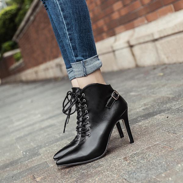 Kvinnor PU Stilettklack Stövlar Boots med Spänne Zipper Bandage skor