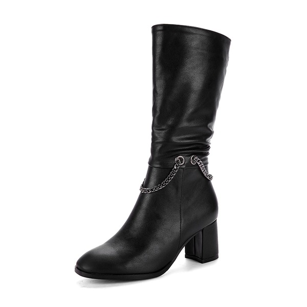 Women's PU Chunky Heel Pumps Boots Mid-Calf Boots With Zipper Chain shoes