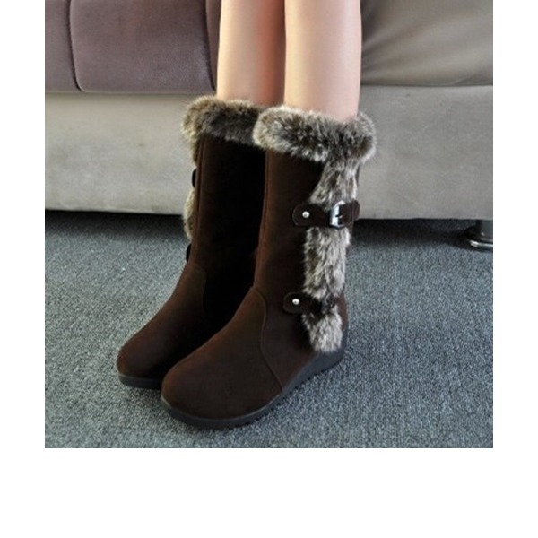 Women's Suede Wedge Heel Boots Mid-Calf Boots With Rivet Buckle Fur shoes