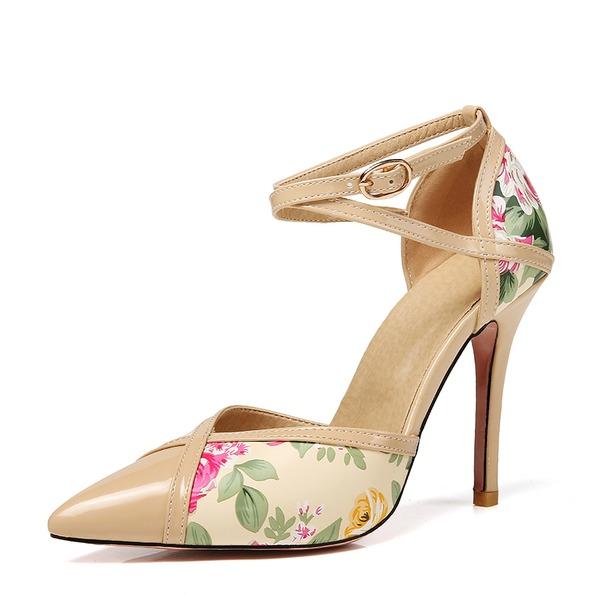 Naisten Kiiltonahka Piikkikorko Sandaalit Avokkaat jossa Nauhakenkä kengät