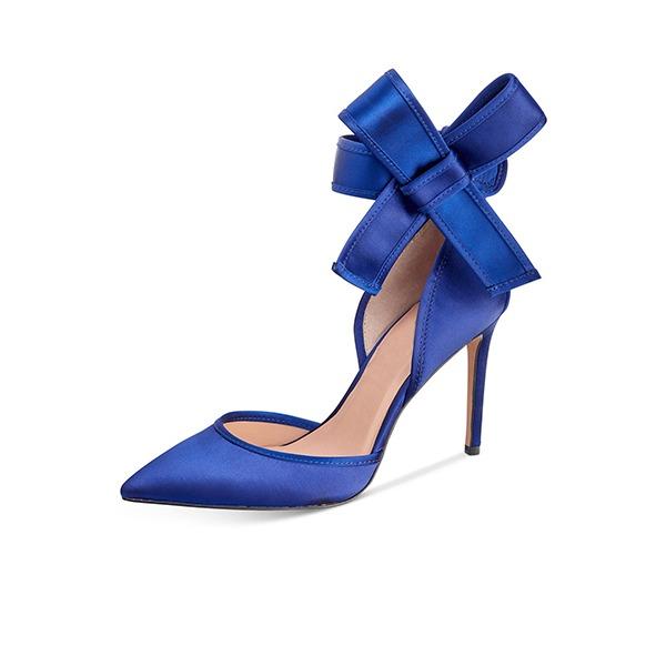Kadın İpeksi Saten İnce Topuk Pompalar Kapalı Toe Ile İlmek ayakkabı
