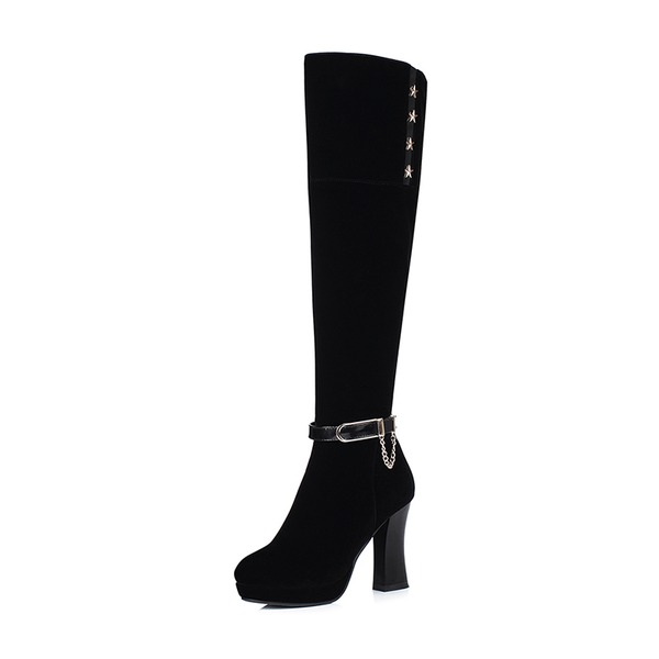 Women's Suede Stiletto Heel Pumps Platform Boots Knee High Boots With Rivet Buckle Zipper Chain shoes