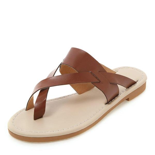 De mujer PU Tacón plano Sandalias Planos Solo correa zapatos