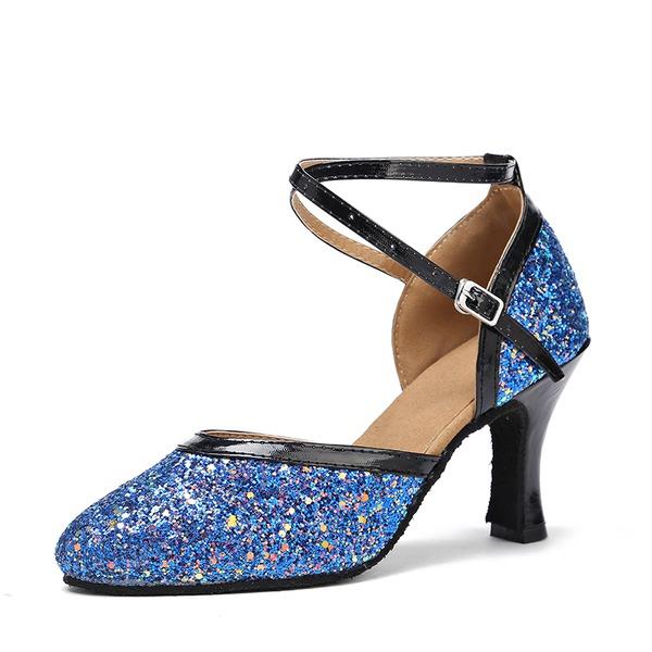 Donna Glitter scintillanti Tacchi Sandalo Sala da ballo Swing con Cava-out Scarpe da ballo