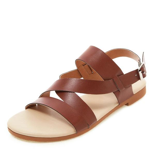 Kvinder Kunstlæder Flad Hæl sandaler Fladsko Kigge Tå Slingbacks med Spænde sko