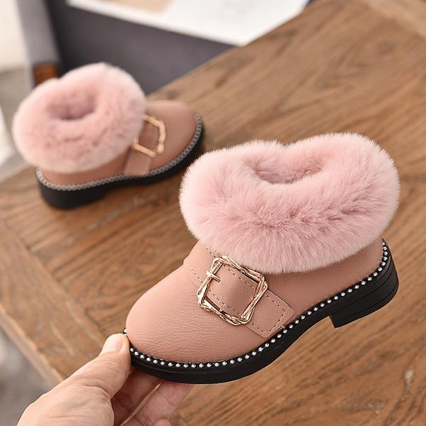 Fille de Bout fermé similicuir talon plat Chaussures plates Bottes avec Boucle