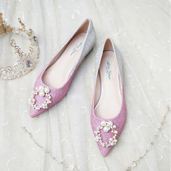 Femmes Pailletes scintillantes Talon plat Bout fermé Chaussures plates avec Pearl