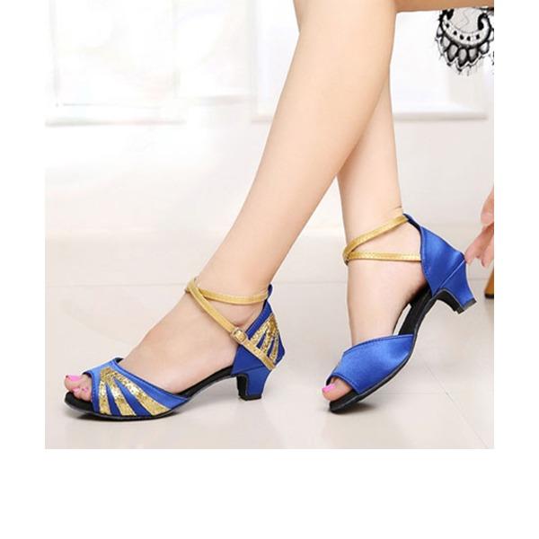 Детская обувь Атлас Мерцающая отделка На каблуках Сандалии Латино Обувь для танцев