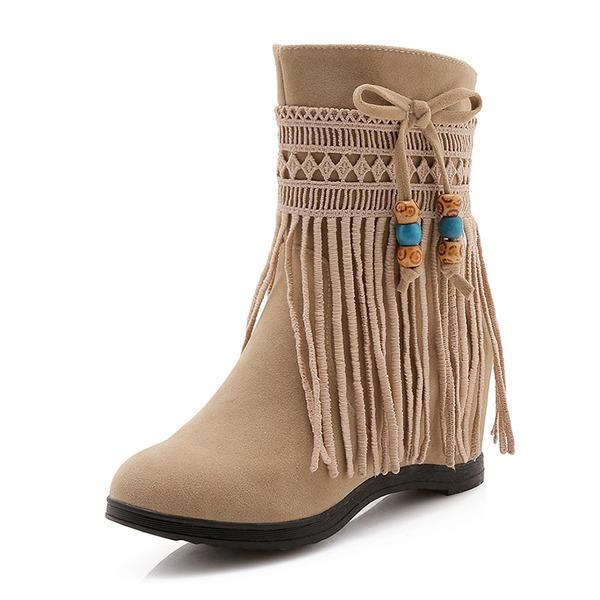 De mujer Ante Tacón plano Botas Botas longitud media con Borla zapatos