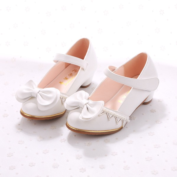Fille de Bout fermé similicuir talon plat Chaussures plates Chaussures de fille de fleur avec Bowknot Perle d'imitation Velcro