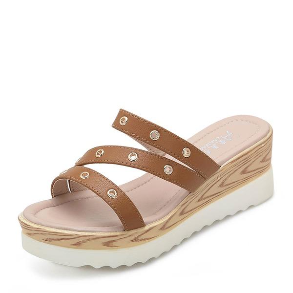Naisten Mikrokuituliina Nahka Wedge heel Sandaalit Kiilat Peep toe kengät