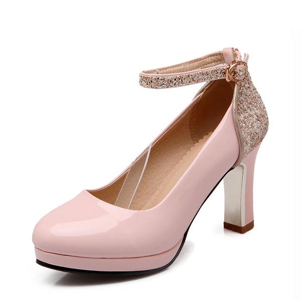 Femmes Similicuir Talon bottier Escarpins Bout fermé avec Pailletes scintillantes Boucle chaussures