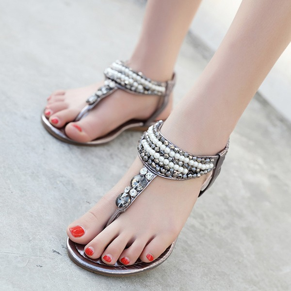 Vrouwen Patent Leather Flat Heel Sandalen met Strass Imitatie Parel schoenen