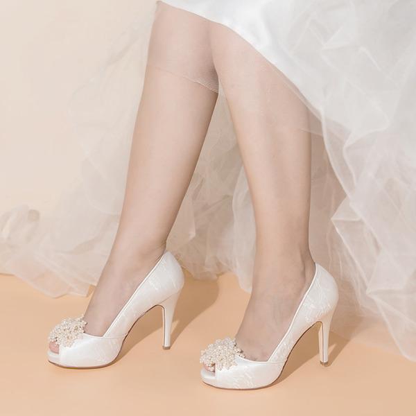 Women's Satin Fabric Stiletto Heel Peep Toe With Imitation Pearl Applique