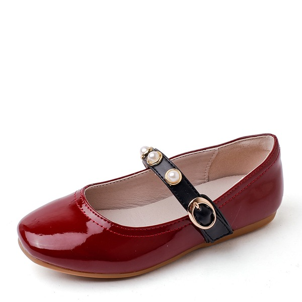 Girl's Closed Toe Ballet Flat Microfiber Leather Flat Heel Flats Flower Girl Shoes With Beading Buckle