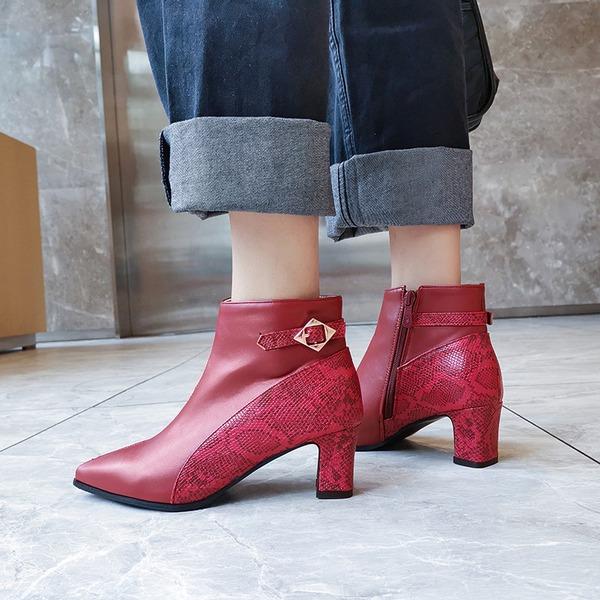 Vrouwen PU Chunky Heel Pumps Laarzen أحذية