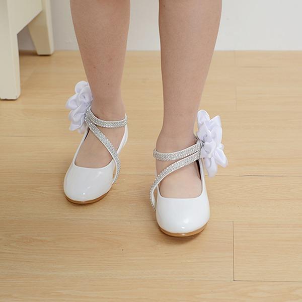 Mädchens Leder niedrige Ferse Round Toe Geschlossene Zehe Absatzschuhe mit Satin Schleife Klettverschluss Zuschnüren