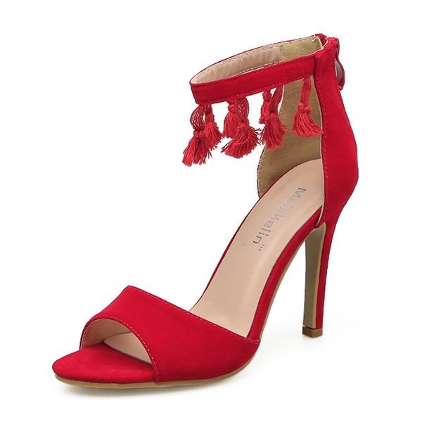 Kvinnor Mocka Stilettklack Sandaler Pumps Peep Toe med Zipper Tofs skor