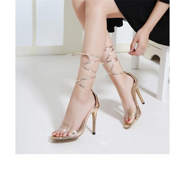 Naisten Keinonahasta PVC Piikkikorko Sandaalit jossa Ribbon Tie kengät