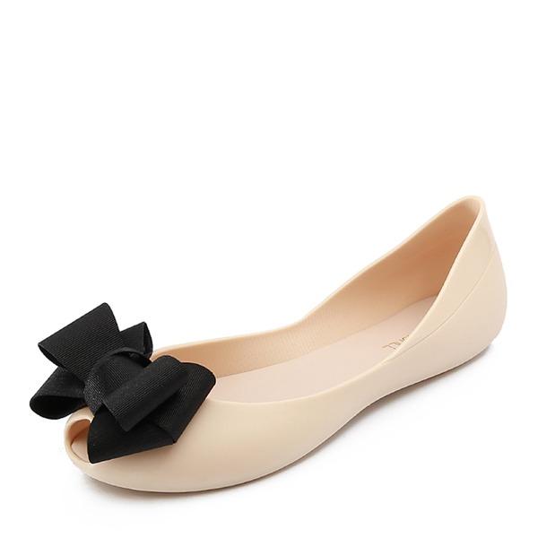 Femmes PVC Chaussures plates À bout ouvert avec Bowknot chaussures