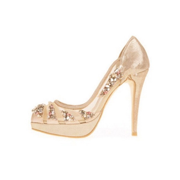 Dámské Mesh Jehlový podpatek Closed Toe Platforma Beach Wedding Shoes S  Drahokamu 0cf0f7a653