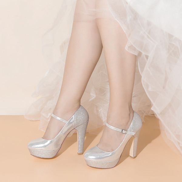 Women's Sparkling Glitter Chunky Heel Closed Toe With Buckle