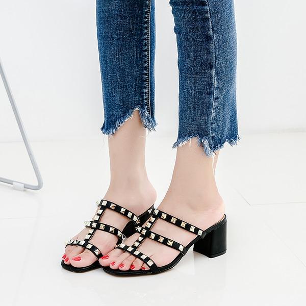 Naisten Keinonahasta Mikrokuituliina Nahka Chunky heel Sandaalit Peep toe jossa Niitti kengät