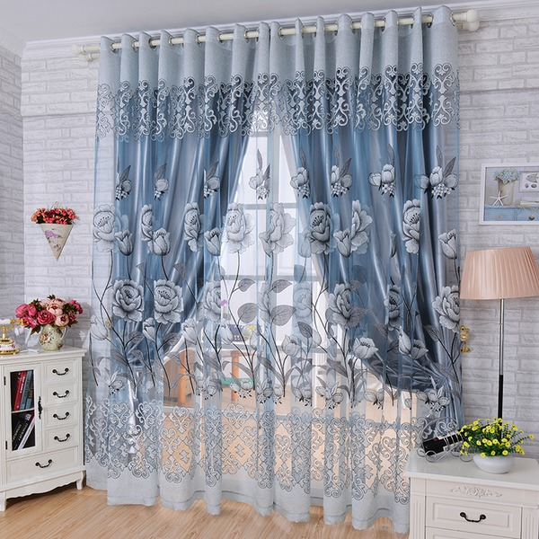 Traditional/Classic lace Polyester Curtains (Sold in a single piece)