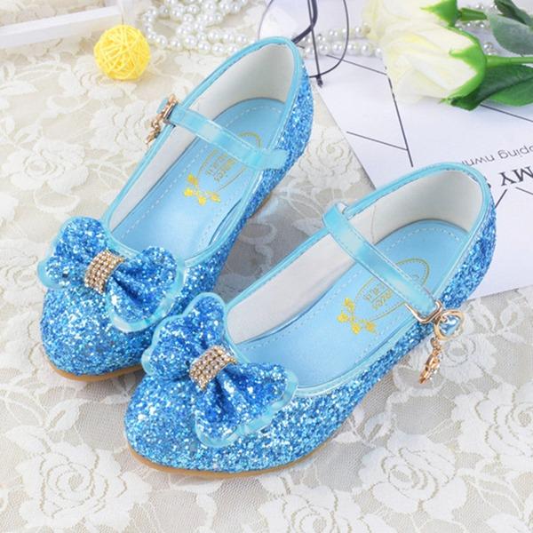 Jentas Lukket Tå Leather lav Heel Flower Girl Shoes med Bowknot Spenne Glitrende Glitter