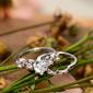 Sterling Silver Cyrkonia Milgrain Heart Cut Zestawy ślubne -