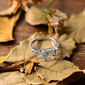 Sterling Silver Cyrkonia Aureola Three Stone Princess Cut Pierścionek zaręczynowy Krążki Obietnica -