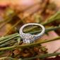 Sterling Silver Cyrkonia Milgrain Okrągłe Cięcie Pierścionek zaręczynowy Krążki Obietnica -